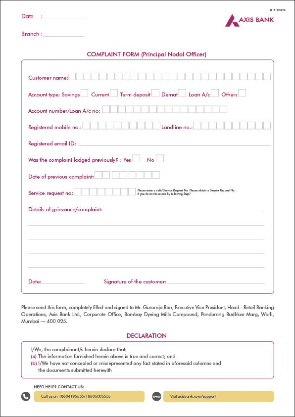 Grievance Redressal Mechanism of the Bank Axis Bank – Financial Ombudsman Service Complaint Form