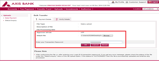 Axis Bank Internet Banking Corporate